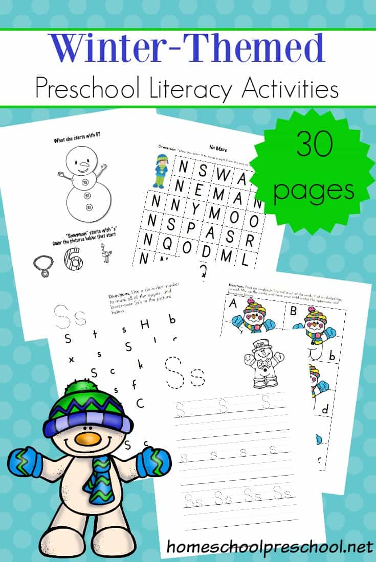 picture relating to Letter Recognition Games Printable called Printable Wintertime Literacy Things to do for Preschoolers