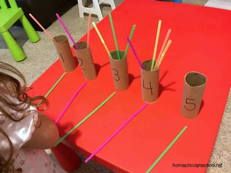 Come discover a fun way to teach preschool numbers and counting with straws and toilet paper tubes. This simple, hands-on activity is the perfect preschool math activity.