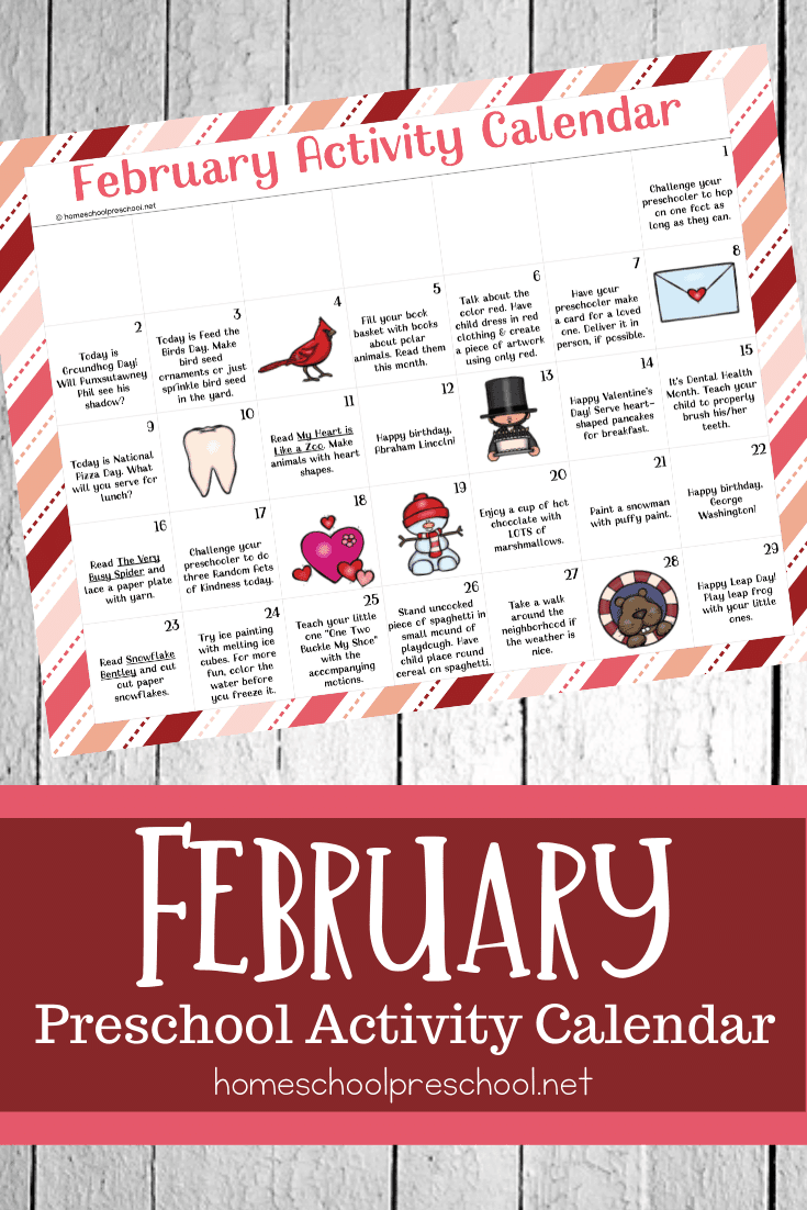 A free February activity calendar for preschool! Celebrate holidays and special days with books, printables, and hands-on activities for little ones.