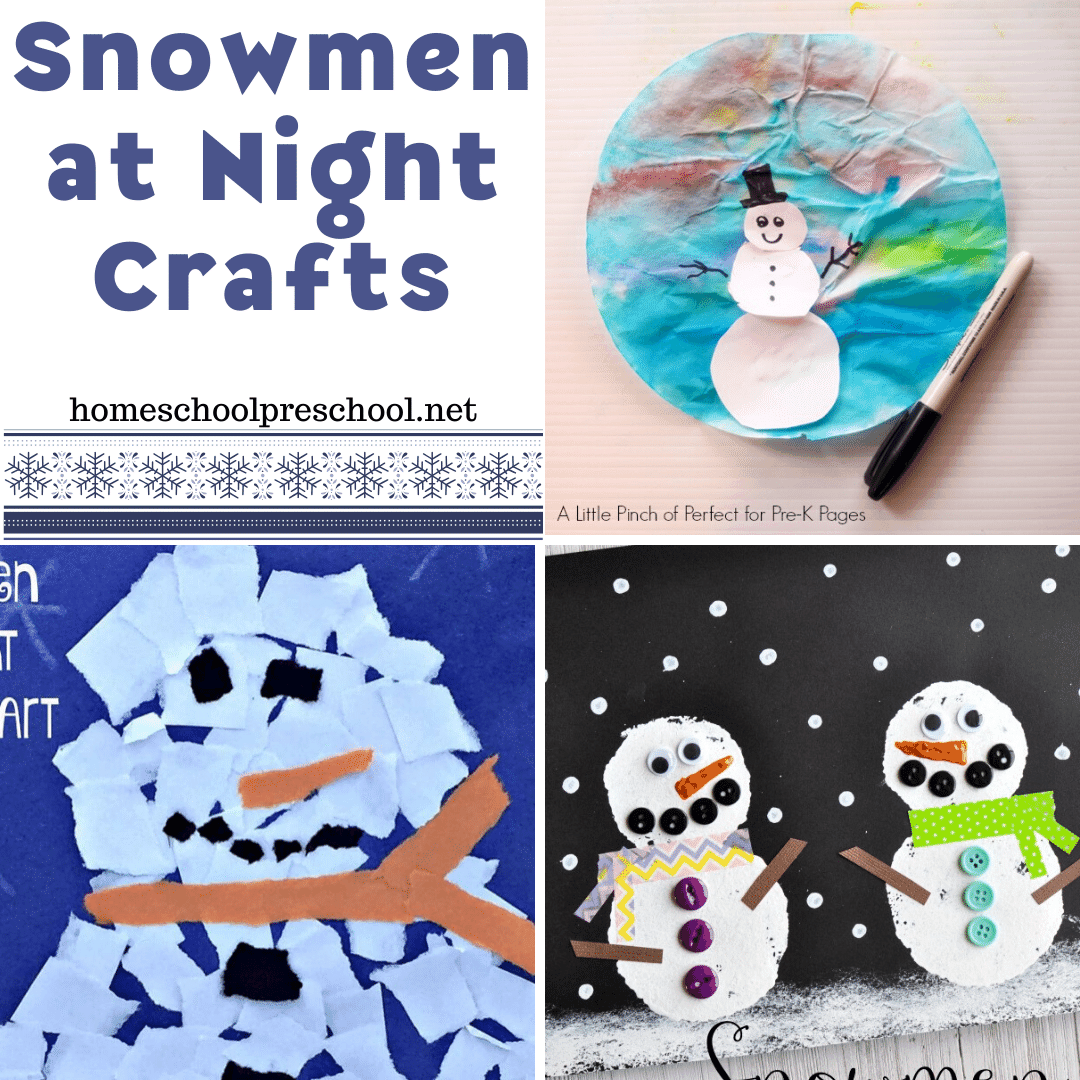 These cute Snowmen at Night activities will be perfect for a winter afternoon activity. You'll find cute art projects for all different ages.