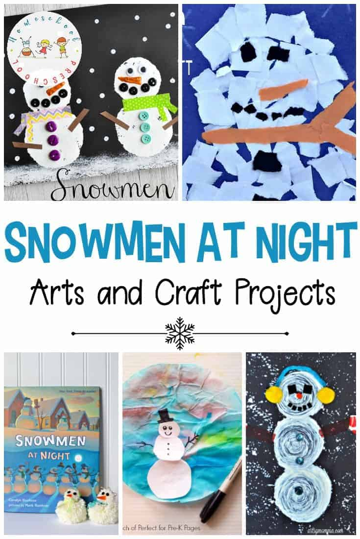 These cute Snowmen at Night crafts and art projects will be perfect for a winter afternoon activity. You'll find cute art projects for all different ages.