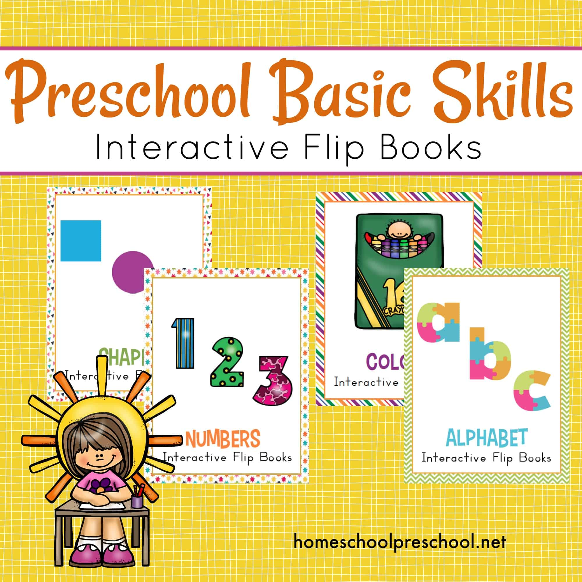 This bundle is perfect for teaching preschool basic skills. Focus on numbers, colors, shapes, and letters with each of the interactive flip books in this bundle.