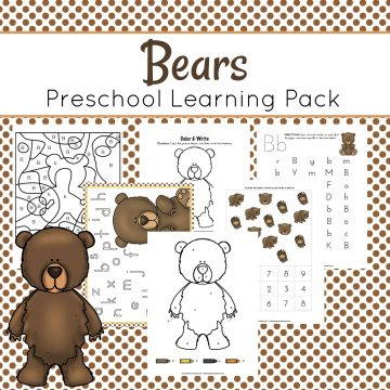 This pack is all about bears. Preschoolers will have fun working on beginning math and literacy skills with this brand new bears preschool learning pack.