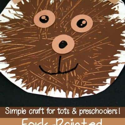 Simple Fork-Painted Bear Craft for Preschoolers