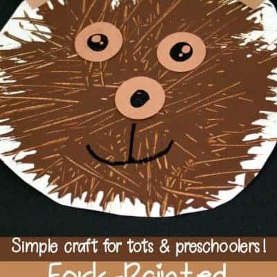 Simple Fork-Painted Bear Craft for Preschoolers