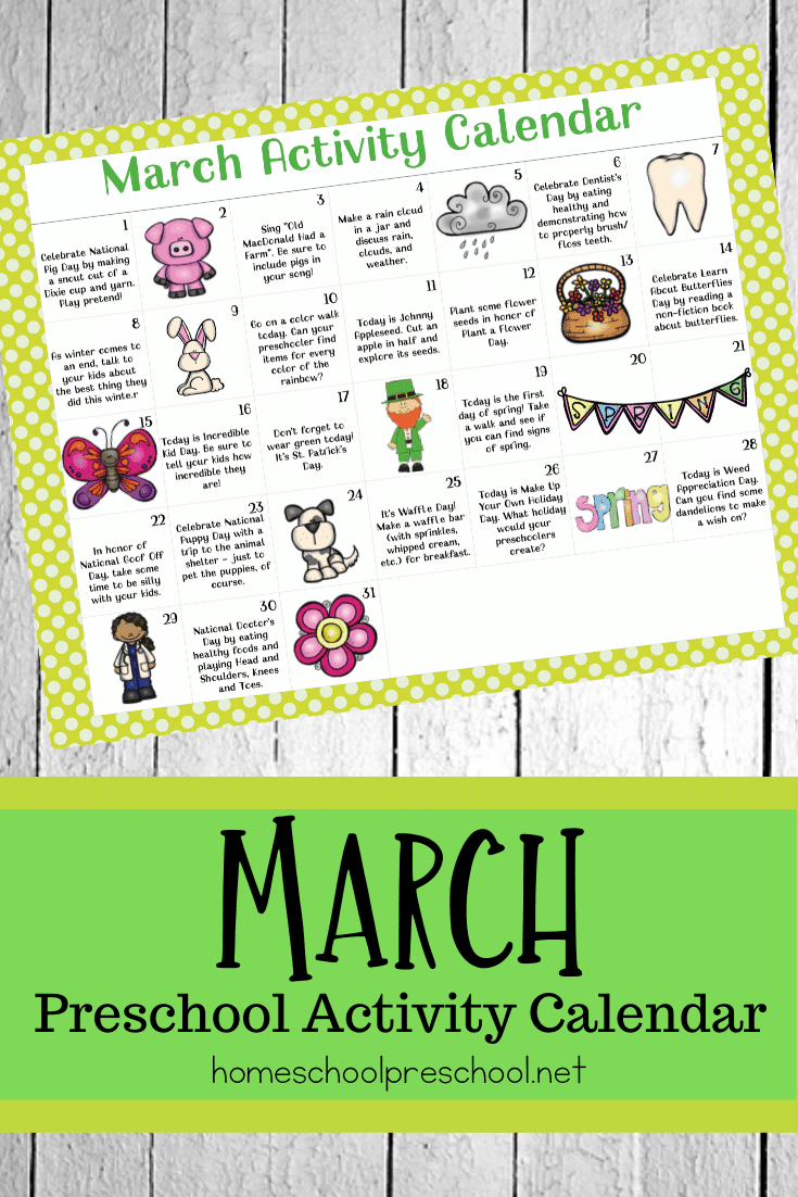 Here's a fun March activity calendar for preschoolers! Celebrate holidays and special days with books, printables, and hands-on activities.