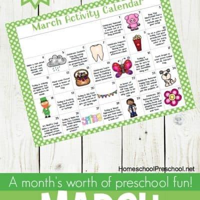 March Tot and Preschool Activity Calendar