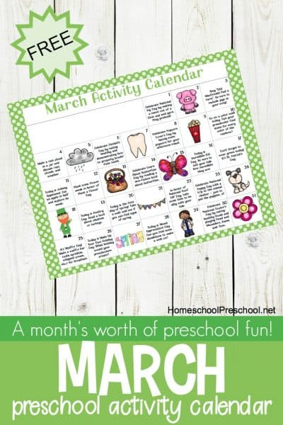 Here's a fun preschool activity for March! Celebrate holidays and special days with books, printables, and hands-on activities for tots and preschoolers.
