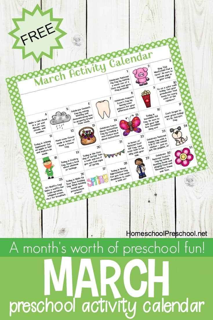 Free Printable March Tot and Preschool Activity Calendar