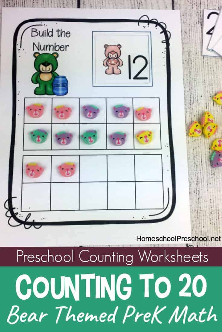 Bear Themed Build The Number Preschool Counting Worksheets