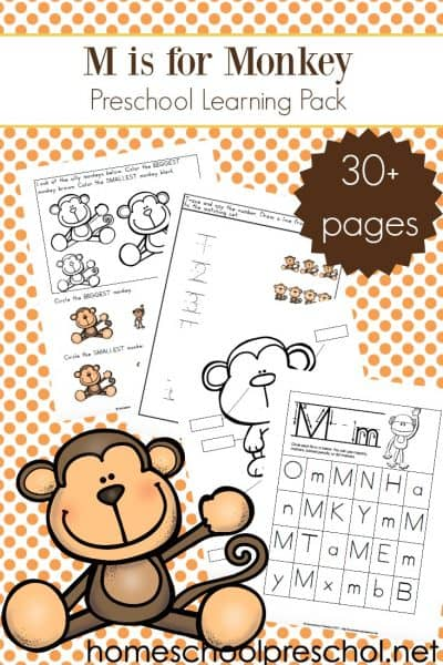Focusing on the letter M or studying monkeys and zoo animals? This set of printablepreschool monkey activities makes a great addition to your theme.