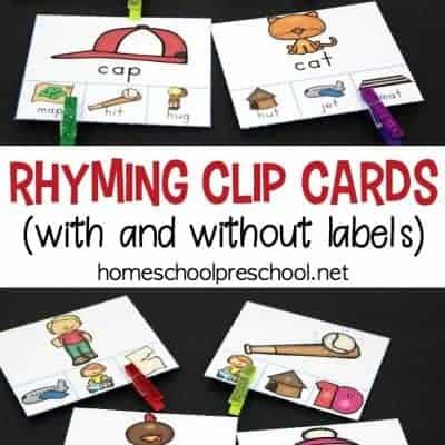 Rhyming Clip Cards Rhyming Activity for Kids