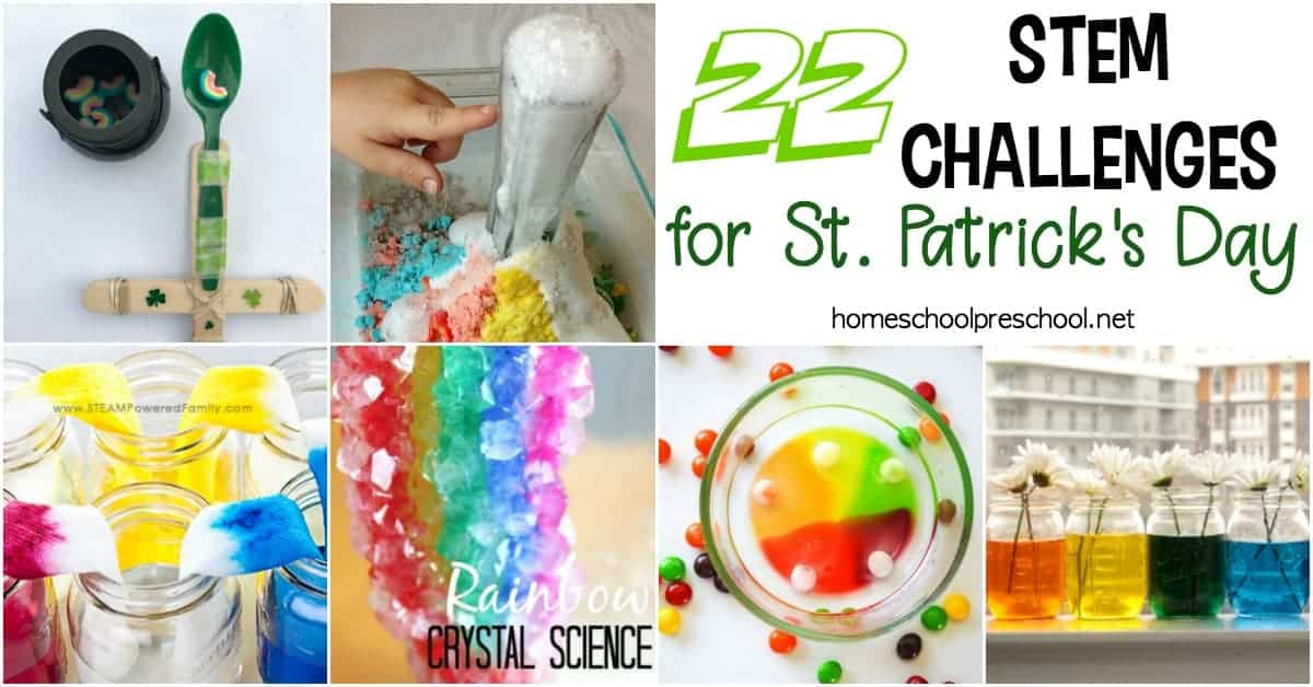 Discover 22 easy STEM activities for kids that are perfect for St. Patrick's Day! Find Skittle science, walking rainbows, catapults and more in this collection.