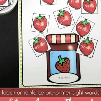 Strawberry Themed Beginning Sight Words Sorting Activity