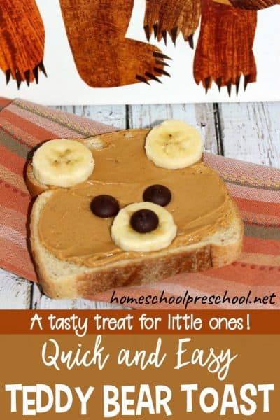 Teddy bear toast is a quick and easy breakfast or snack for preschoolers. Encourage your little ones to eat a healthy treat with toast that looks like a bear.