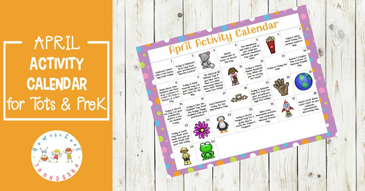 What a fun preschool activity calendar for April! Celebrate holidays and special days with books, printables, and hands-on activities for tots and preschoolers.