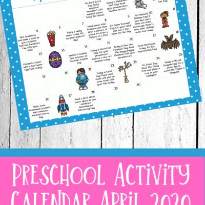 April Tot and Preschool Activity Calendar