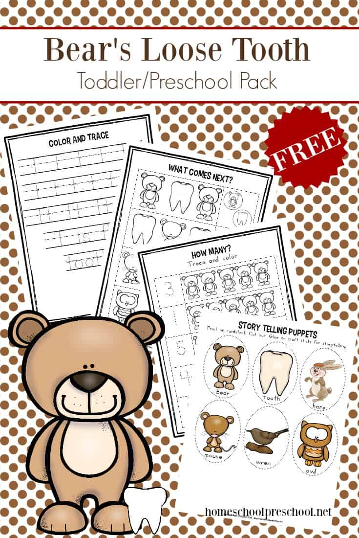 Prepare your preschoolers for their first loose tooth with some quick, fun activities to go along with Bear's Loose Tooth by Karma Wilson.