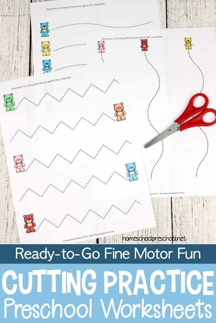 These preschool worksheets provide much-needed cutting practice for little hands. They provide an opportunity to build fine motor skills.