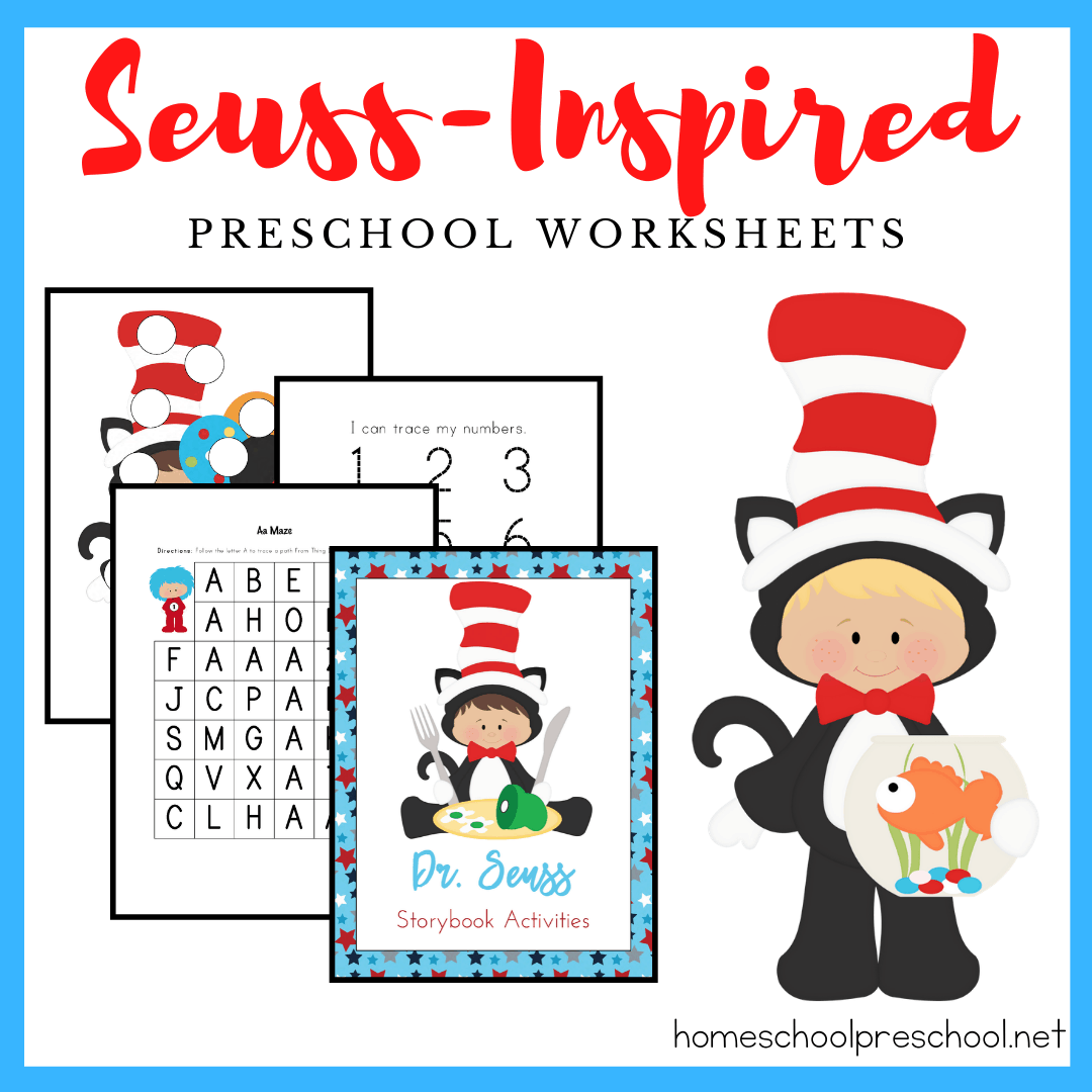 Little ones will love sitting down to learn with this Dr Seuss printable! This free preschool printable includes 17 pages of Dr. Seuss-themed learning fun!