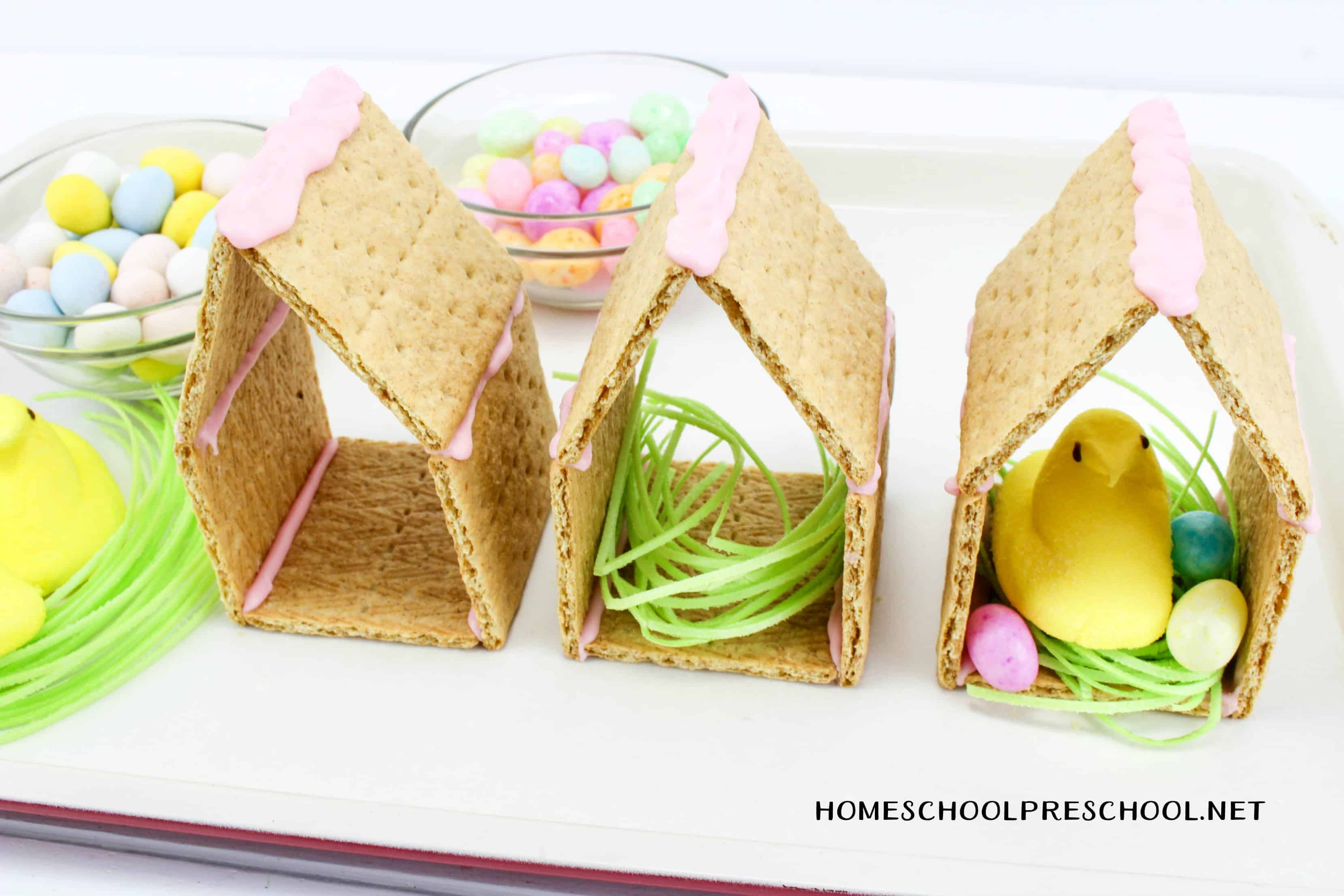 This adorable Easter Peeps Graham Cracker House is so easy to make! Kids will love helping you assemble (and eat) this sweet treat.