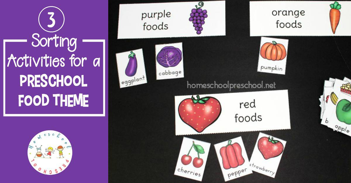 Printable Preschool Food Theme Sorting Activities