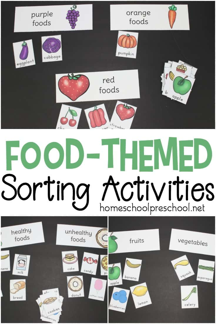 Print out and sort all types of foods with this pack of preschool food theme sorting activities. Sort by color, fruits and vegetables, healthy and unhealthy foods.