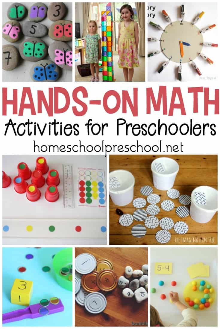 Ditch the workbooks and printables! Teach counting, math facts, and more with these hands-on preschool math activities.