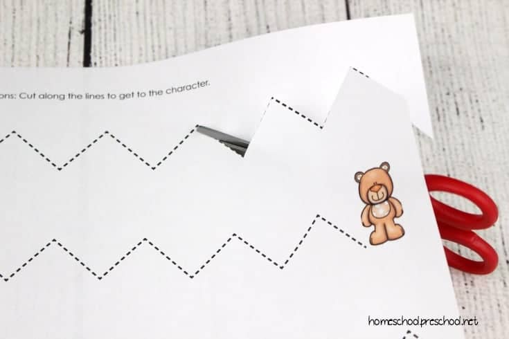 Bear Themed Cutting Practice Preschool Worksheets