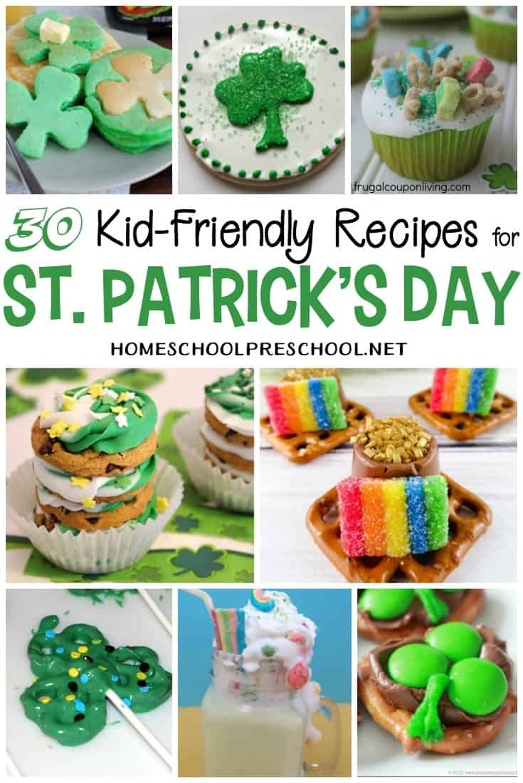 Here's a fun collection of St Patricks Day goodies and snacks that kids can help you make and then, or course, enjoy!