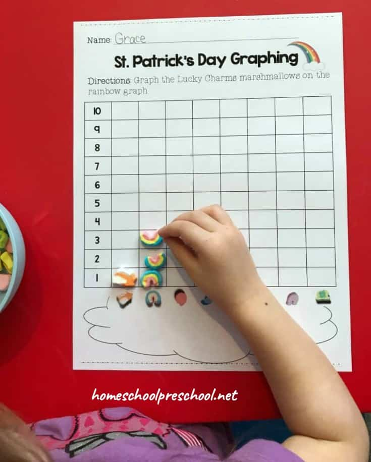 St. Patrick's Day is right around the corner and there's no better way to celebrate than a super fun preschool math activity! Kids will love sorting, counting, and graphing with Lucky Charms.