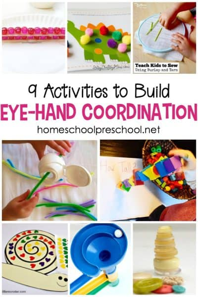 Good hand eye coordination allows kids to catch a ball, track words for reading, and tie shoelaces. These eye hand coordination activities will help your preschoolers prepare for those skills and more!