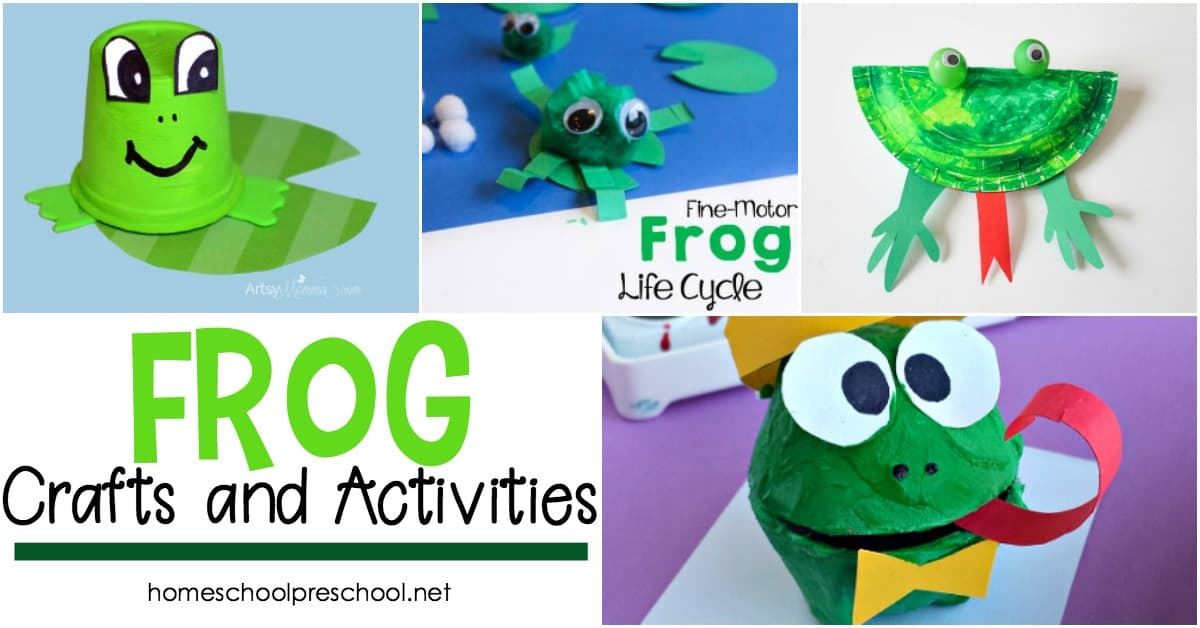 Are you looking for activities to teach your preschoolers about frogs? This is such a nice collection of frog crafts you can add to your homeschool preschool lessons.