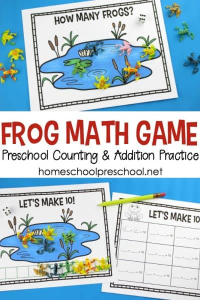 Free Preschool Frog Math Game for Counting and Addition