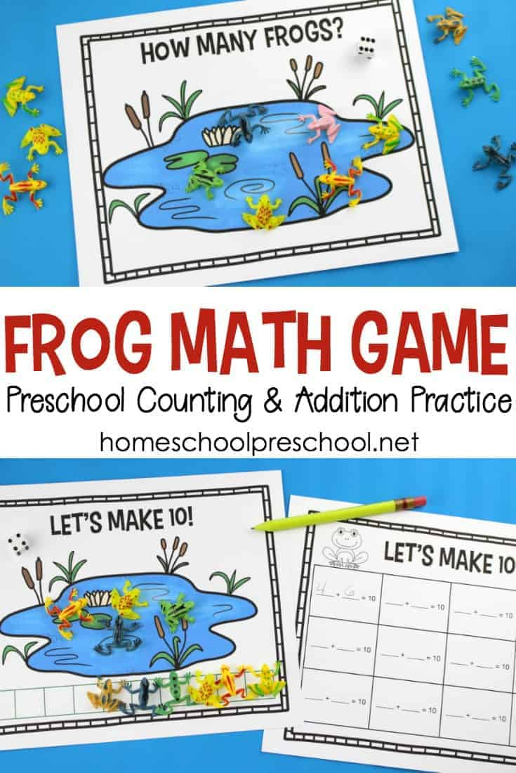 Preschoolers will enjoy playing this hands-on frog math game to help them practice counting and addition to ten. This fun math frog game is a fantastic addition to your spring homeschool lessons.