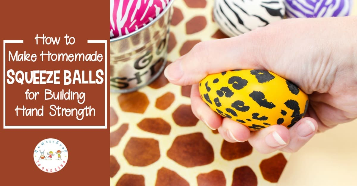 Preschoolers can poke, roll, shape, and squeeze this homemade squeeze ball for kids. It's great for building hand strength and calming fidgety kids.
