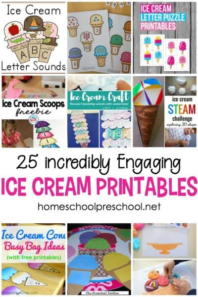 I scream! You scream! We all scream for ice cream printables! Add a cool twist to your summer homeschool preschool plans with ice cream activities for math, literacy, and more.