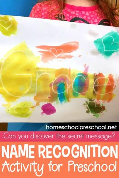 """You won't believe how easy it is to set up this """"secret message"""" name recognition activity for your preschoolers! They'll have so much fun making the secret message appear."""