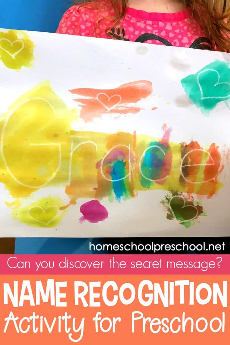"You won't believe how easy it is to set up this ""secret message"" name recognition activity for your preschoolers! They'll have so much fun making the secret message appear."