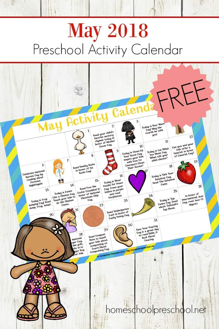 Don't miss this exciting preschool activity calendar! Celebrate all of May's holidays and special days with books, printables, and hands-on activities that are perfect for tots and preschoolers!