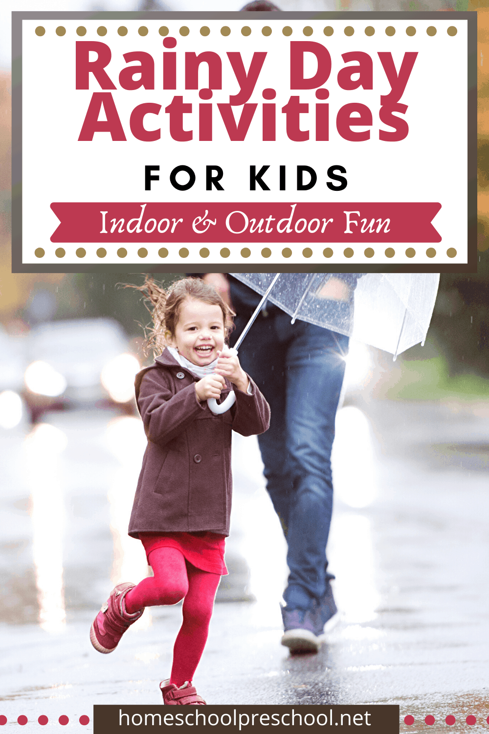 Come discover some fun rainy day activities for preschoolers to enjoy. Whether you spend the day indoors or outside in the rain, we've got you covered.