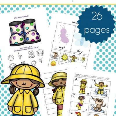 Printable Rainy Day Spring Preschool Learning Pack