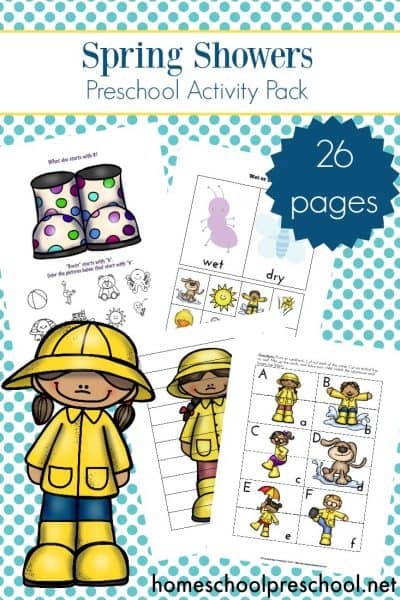 They say that April showers bring May flowers. Little ones will can focus on early math and literacy when you add this Rainy Day learning pack to your spring preschool lessons.