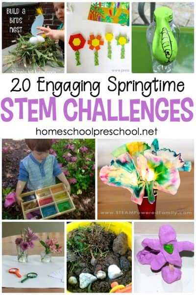 Introduce springtime STEM into your homeschool preschool lessons with this amazing collection of 20 STEM activities for kids.
