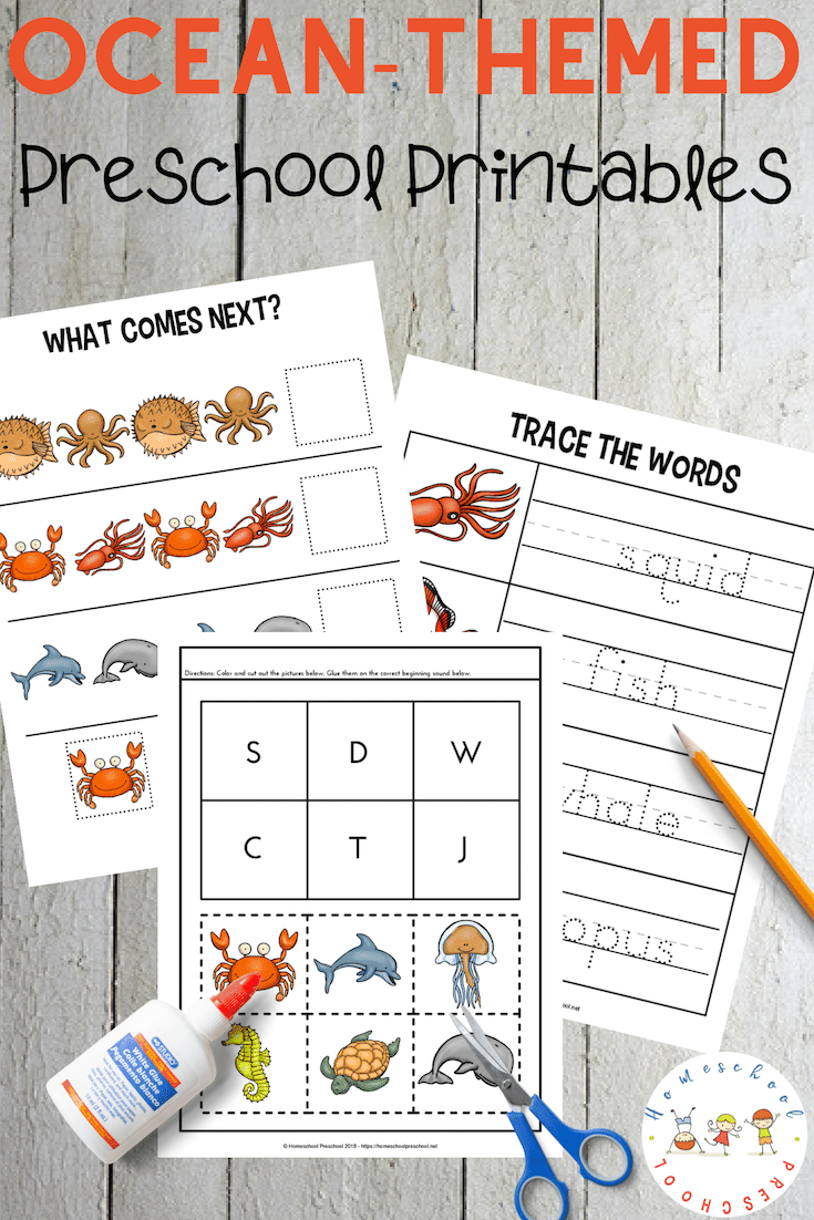FREE Ocean Worksheets for Preschool! These printables focus on colors, alphabet, and math with a fun ocean theme. Perfect for summer preschool lessons!