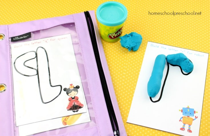 Literacy fun for little ones! Grab this fun set of Play Dough Alphabet Mats for young learners. They will love creating letters with play dough and focusing on beginning sounds.