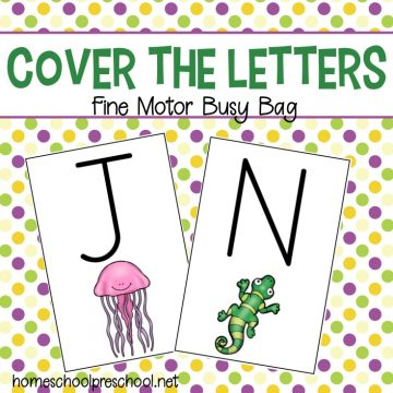 "Preschoolers will practice letter recognition and build fine motor skills with this ""cover the letters"" busy bag. Fine motor alphabet activities for kids!"