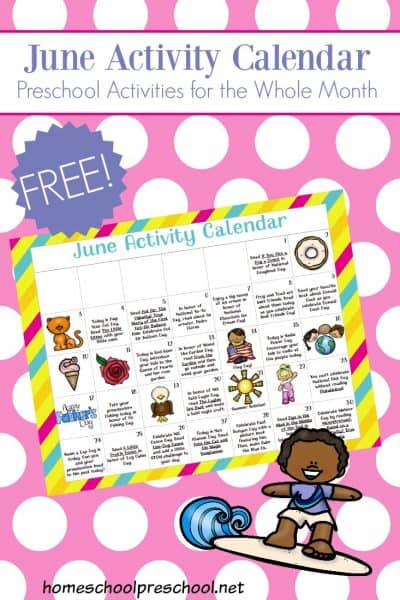 Be sure to download this month's preschool activity calendar! You and your preschoolers can celebrate all of June's special days with hands-on activities, books, and preschool printables.