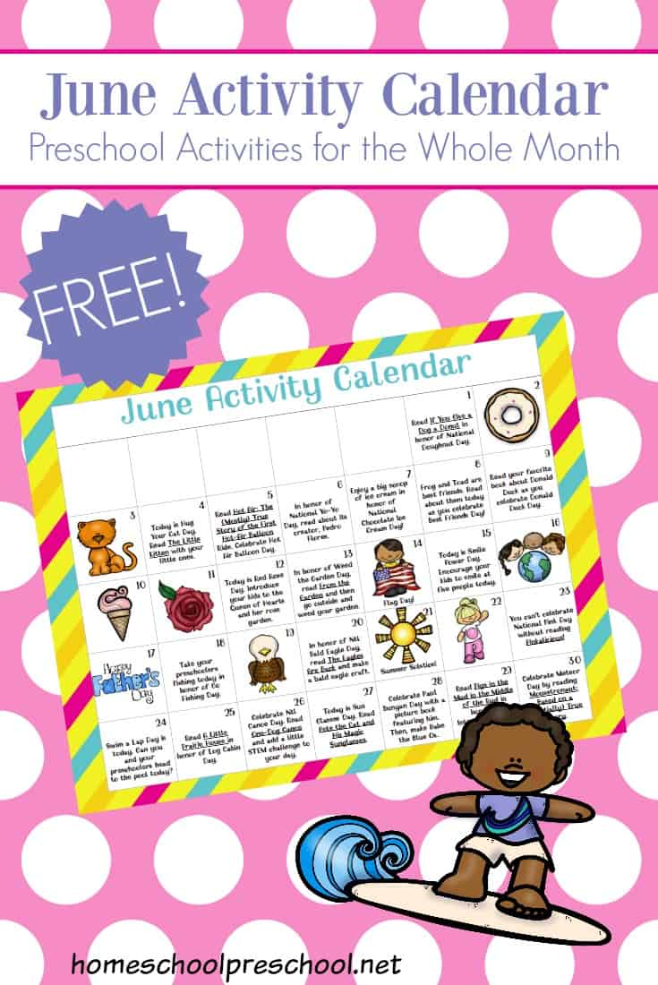 June Calendar Special Days : Free printable preschool activity calendar for june fun