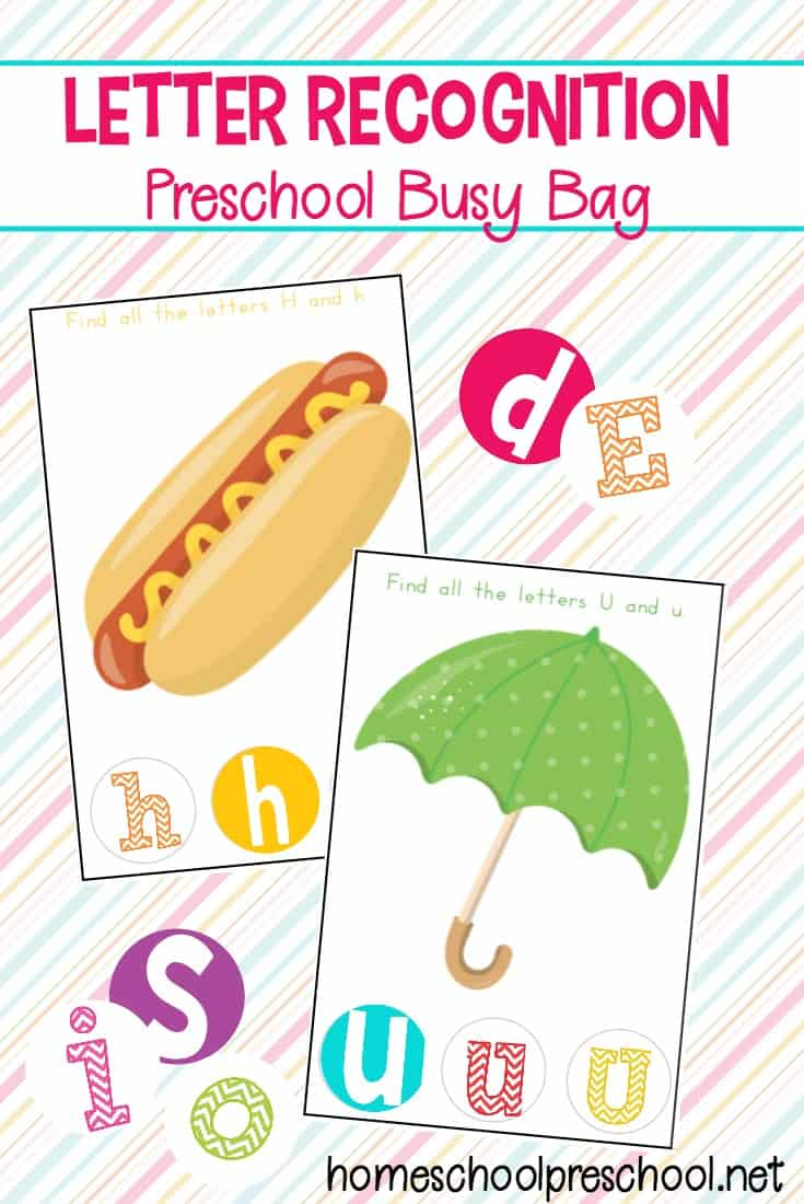 Playful literacy fun! Download this letter recognition preschool busy bag. It is a great way to get kids to recognize and interact with letters and fonts.